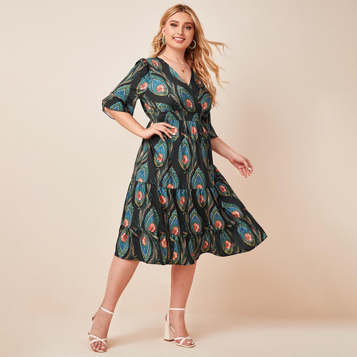 Многихцветные Низ-оборка Цветочный Бохо Платья размер плюс фото