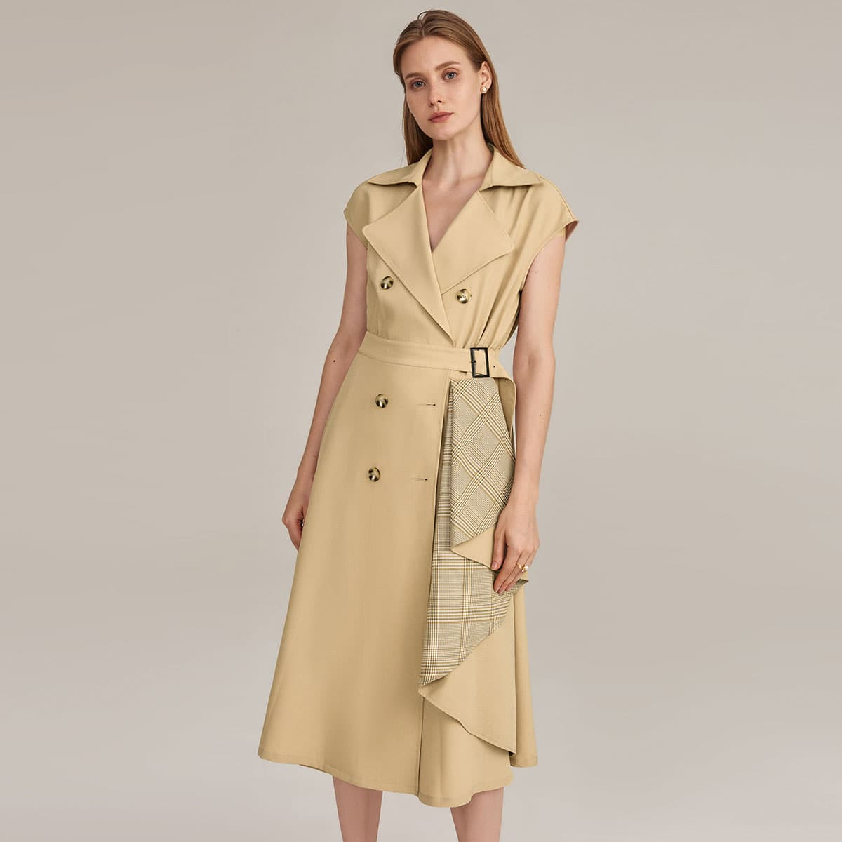 Notch Collar Plaid Draped Detail Buckle Belted Trench Dress