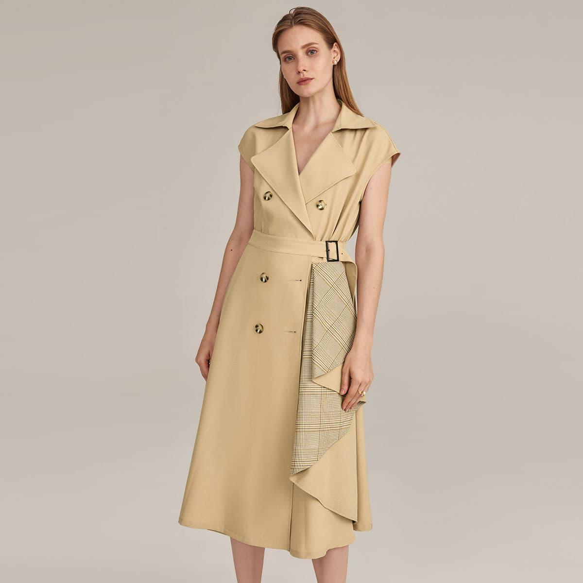 Kleid mit eingekerbtem Kragen, Karo Muster, Schnalle und Gürtel