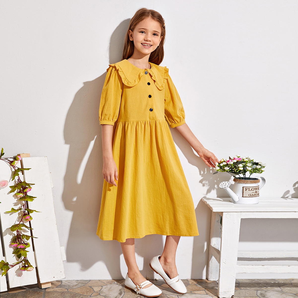 Модное платье с пуговицами без сумки для девочек фото