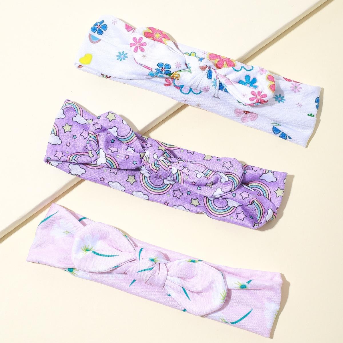 Повязка для волос с цветочным рисунком для девочек 3шт фото