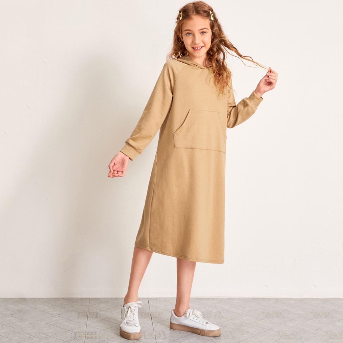 Платье-свитшот с карманом и рукавом реглан для девочек от SHEIN