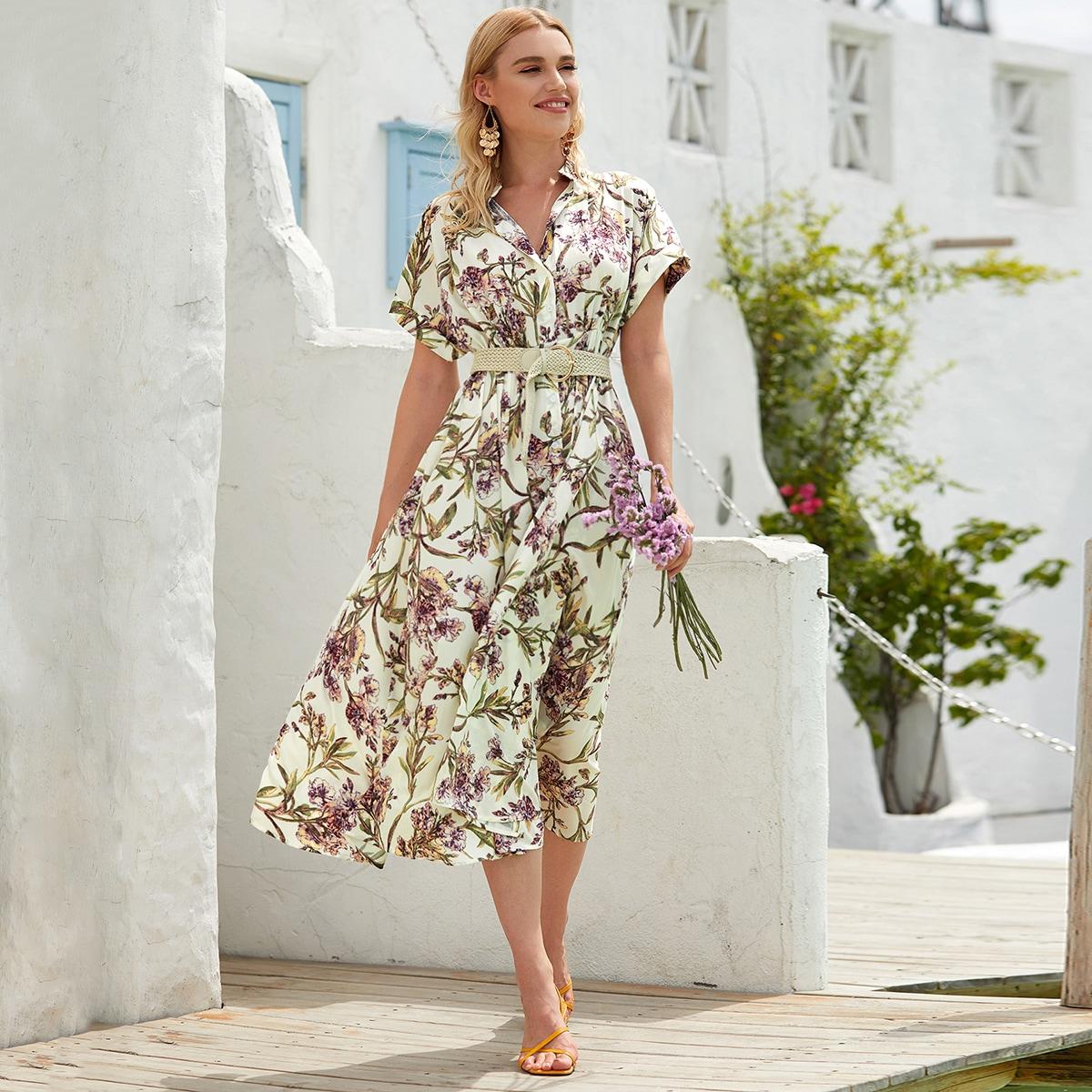 Многоцветный с поясом Цветочный принт Бохо Платья фото
