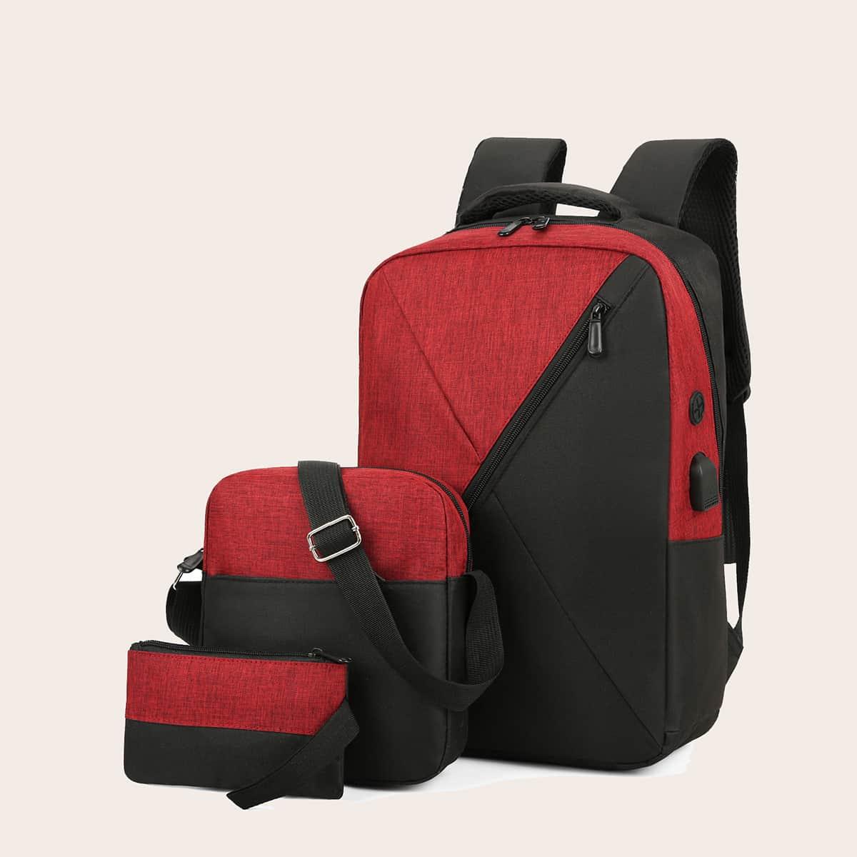 Рюкзак на молнии и сумка через плечо 3шт фото