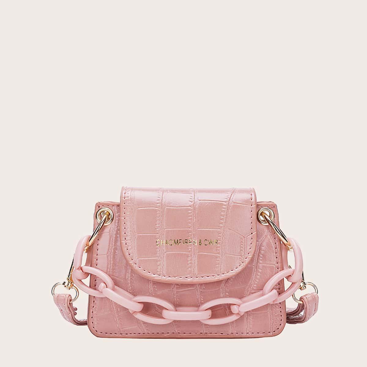 Рельефная мини сумка-сэтчел с цепочкой фото