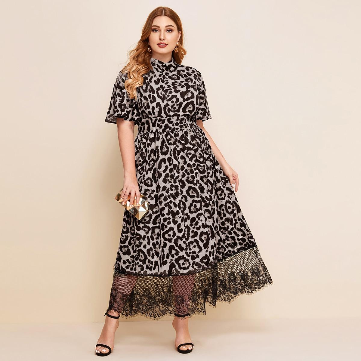 Платье размера плюс с леопардовым принтом и кружевом фото