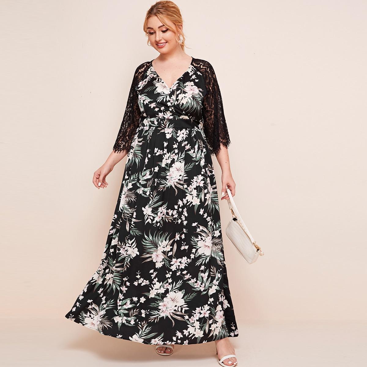 SHEIN / Kleid mit V-Kragen, Spitzen, Raglan Ärmeln und tropischem Muster