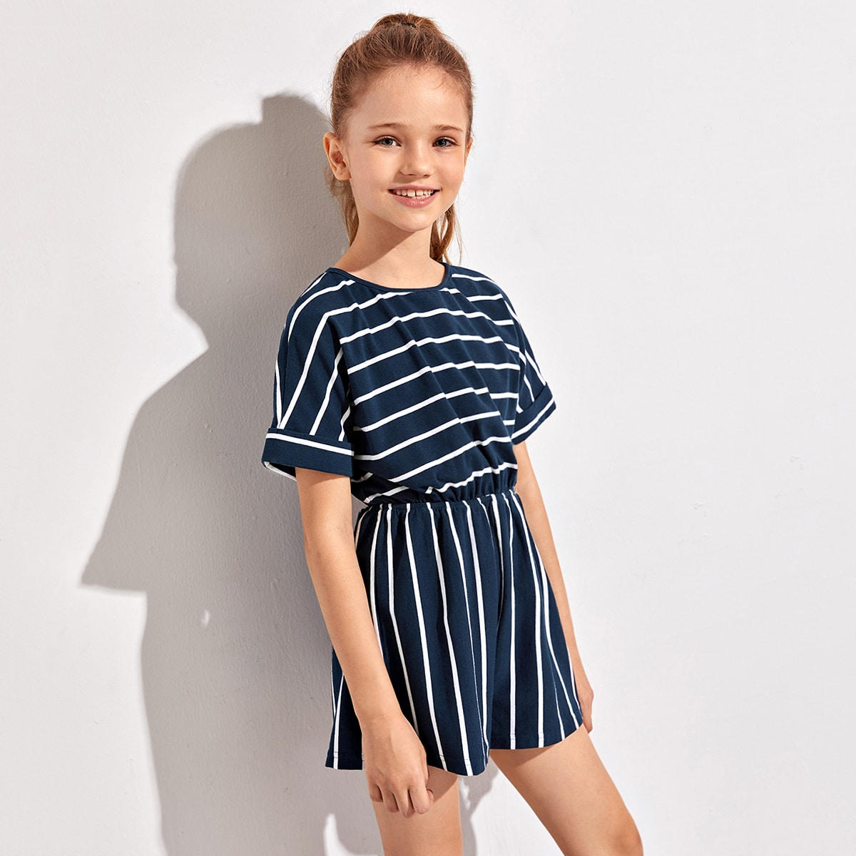 SHEIN / Girls Batwing Sleeve Striped Romper