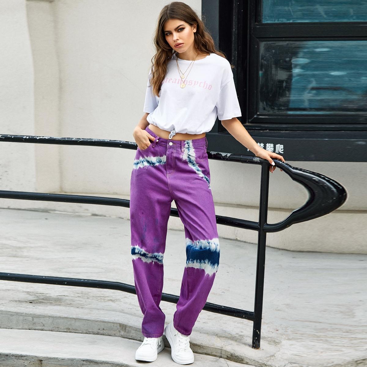 Разноцветные прямые джинсы фото