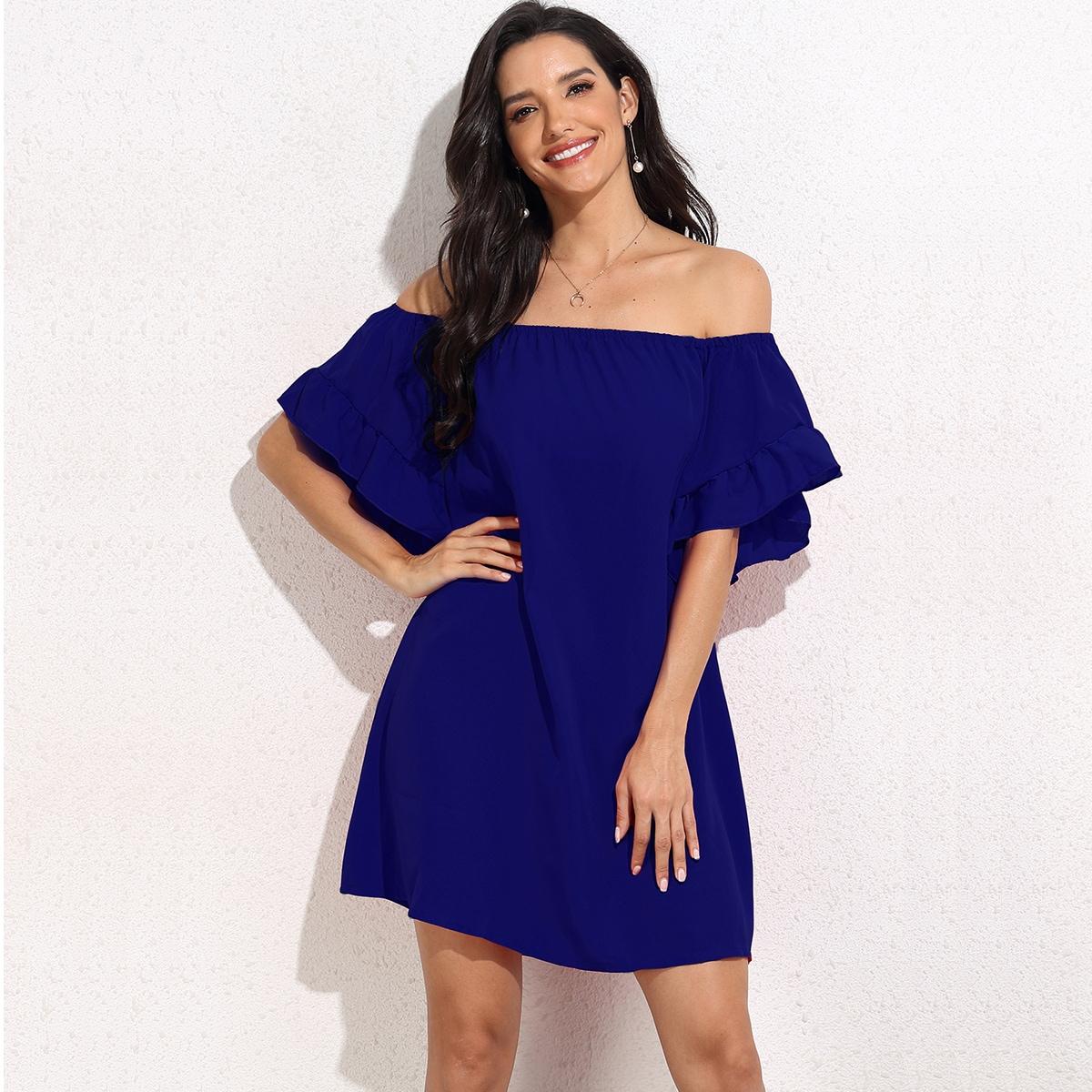SHEIN / Solid Flounce Sleeve Bardot Dress