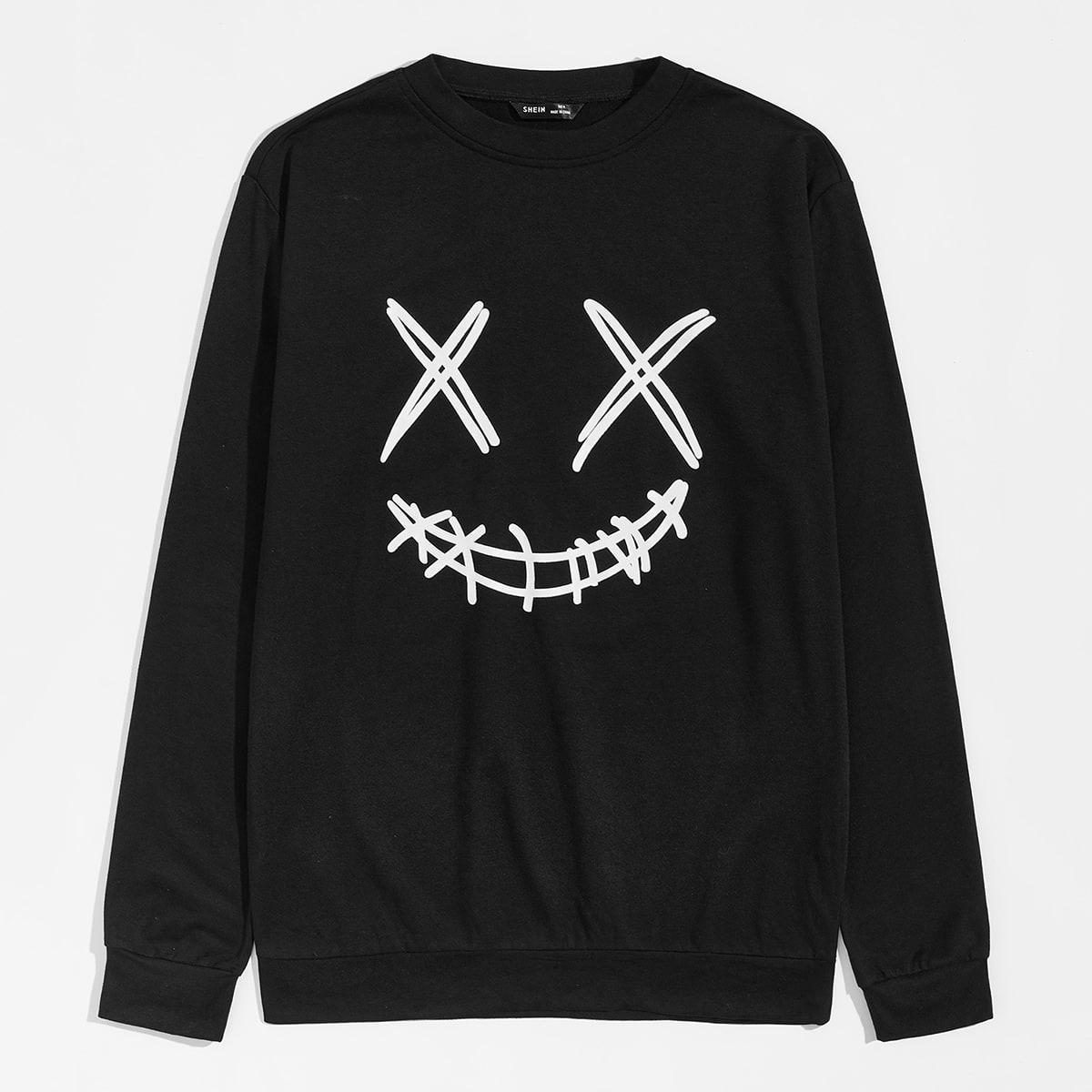Мужской пуловер с мультипликационным принтом от SHEIN