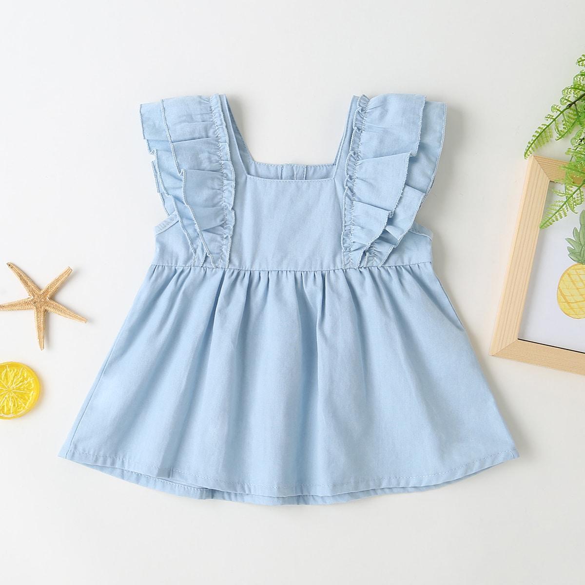 Нежно-голубой с воланами Одноцветный Деним для малышей от SHEIN