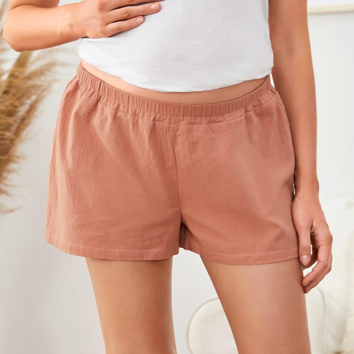 Однотонные шорты для беременных с эластичной талией от SHEIN