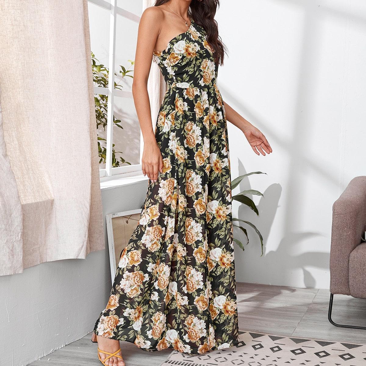 Платье на одно плечо с цветочным принтом фото