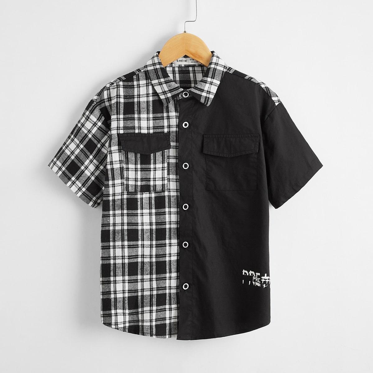 Контрастная рубашка в клетку с карманом для мальчиков от SHEIN