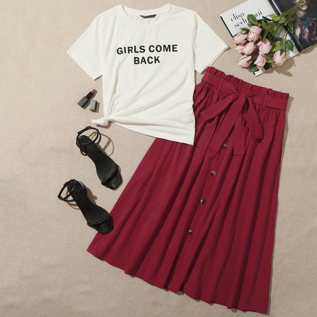 Топ с текстовым принтом и юбка с присборенной талией фото