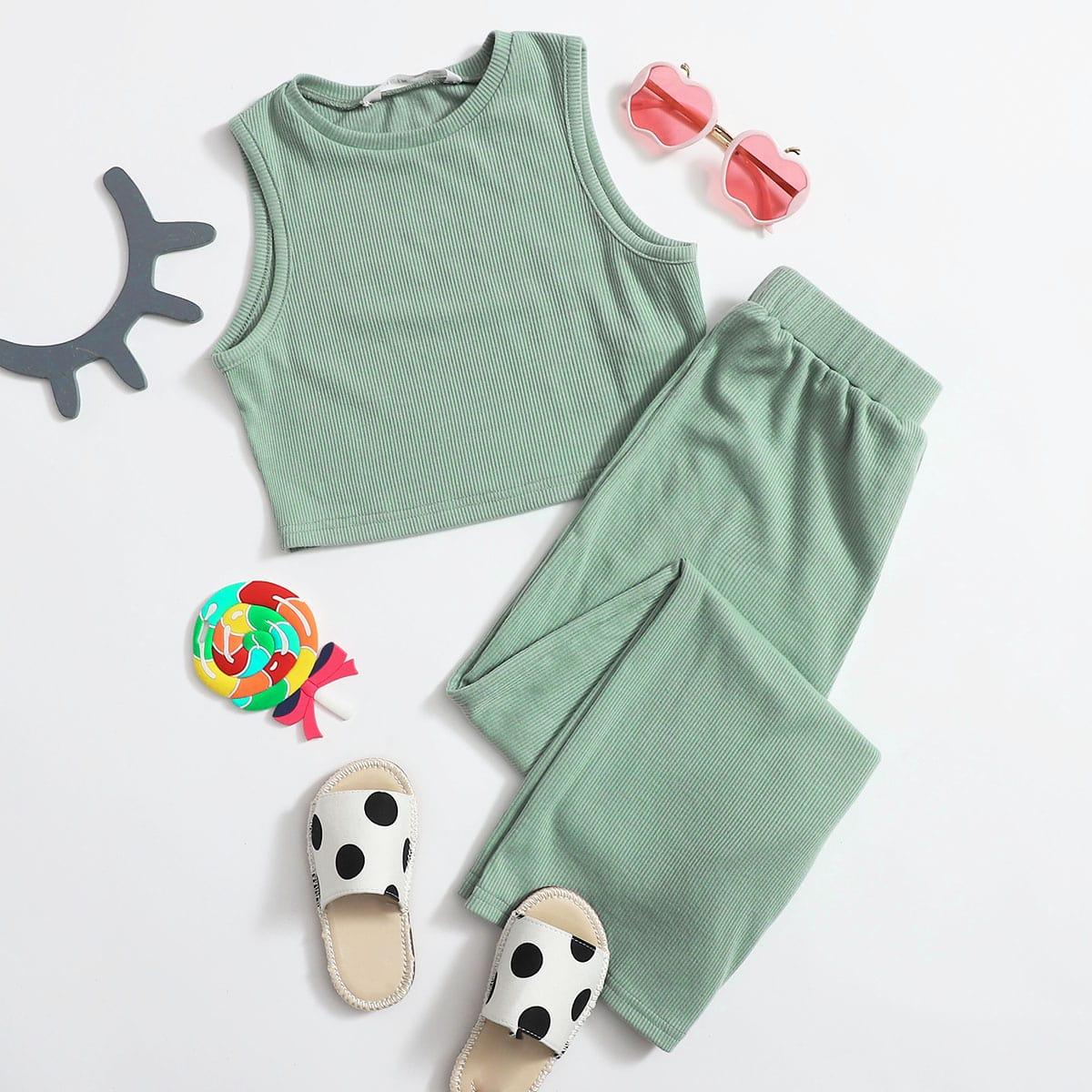 Вязаный топ и брюки для девочек фото