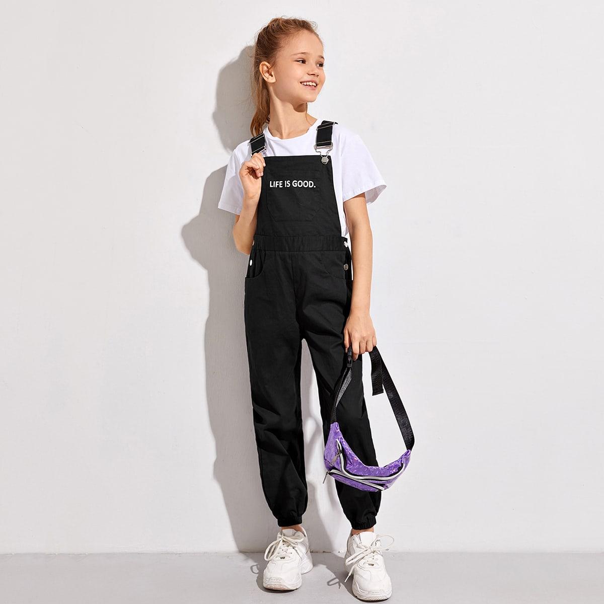 Комбинезон с карманом и текстовым принтом для девочек от SHEIN