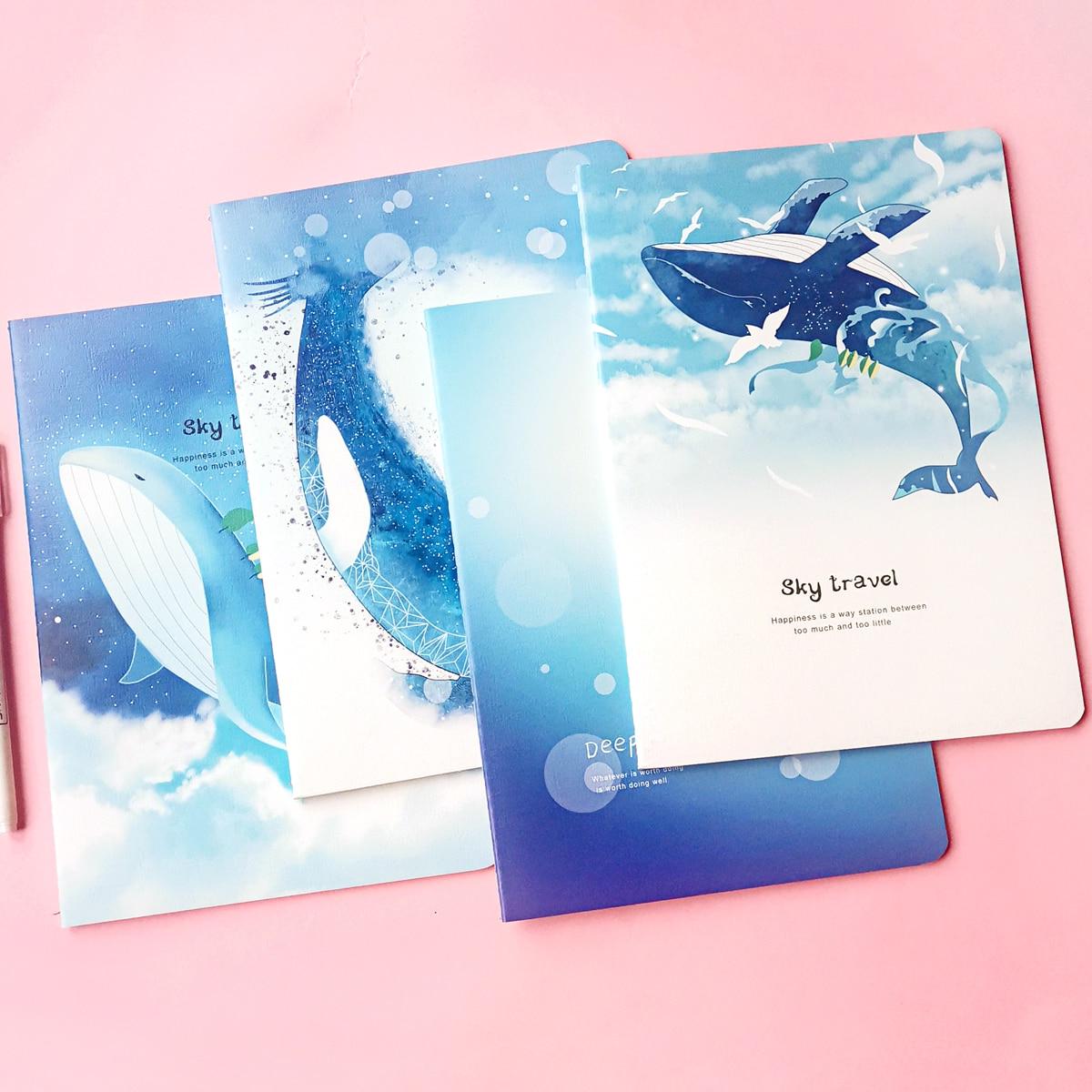 1 пакет тетрадь случайного с принтом кита фото