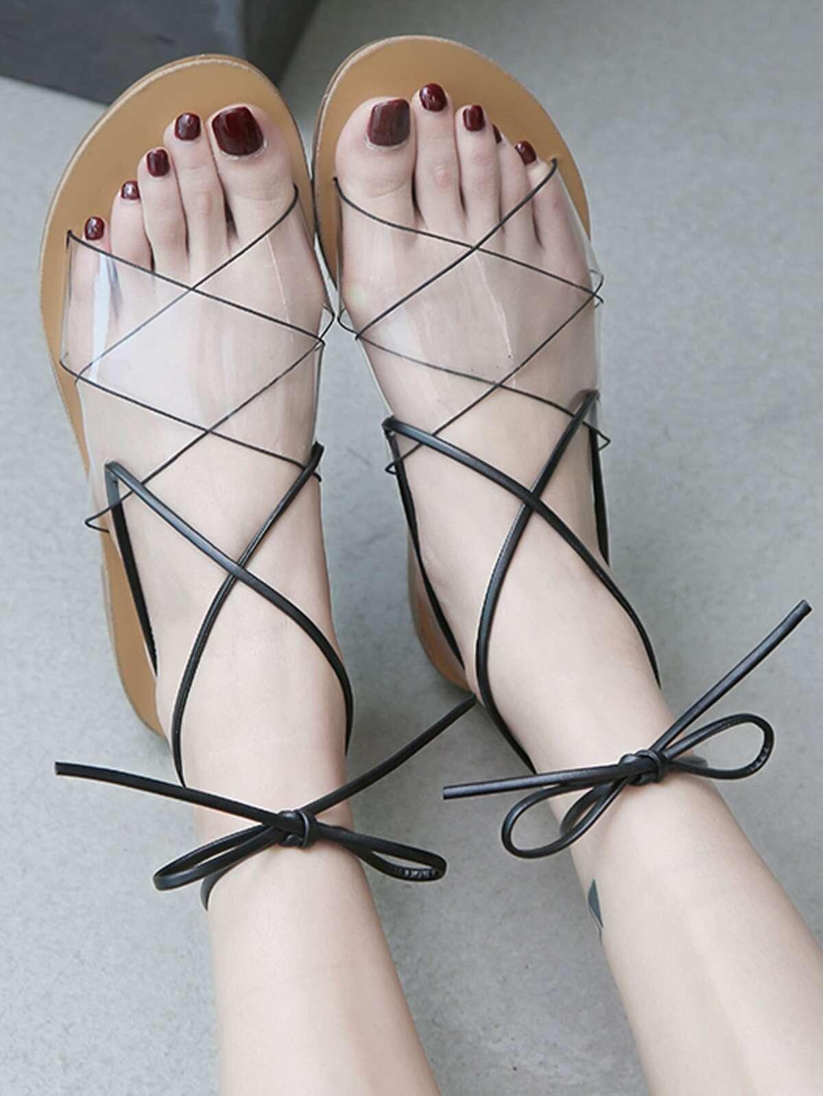 Clear Strap Tie Leg Flat Sandals