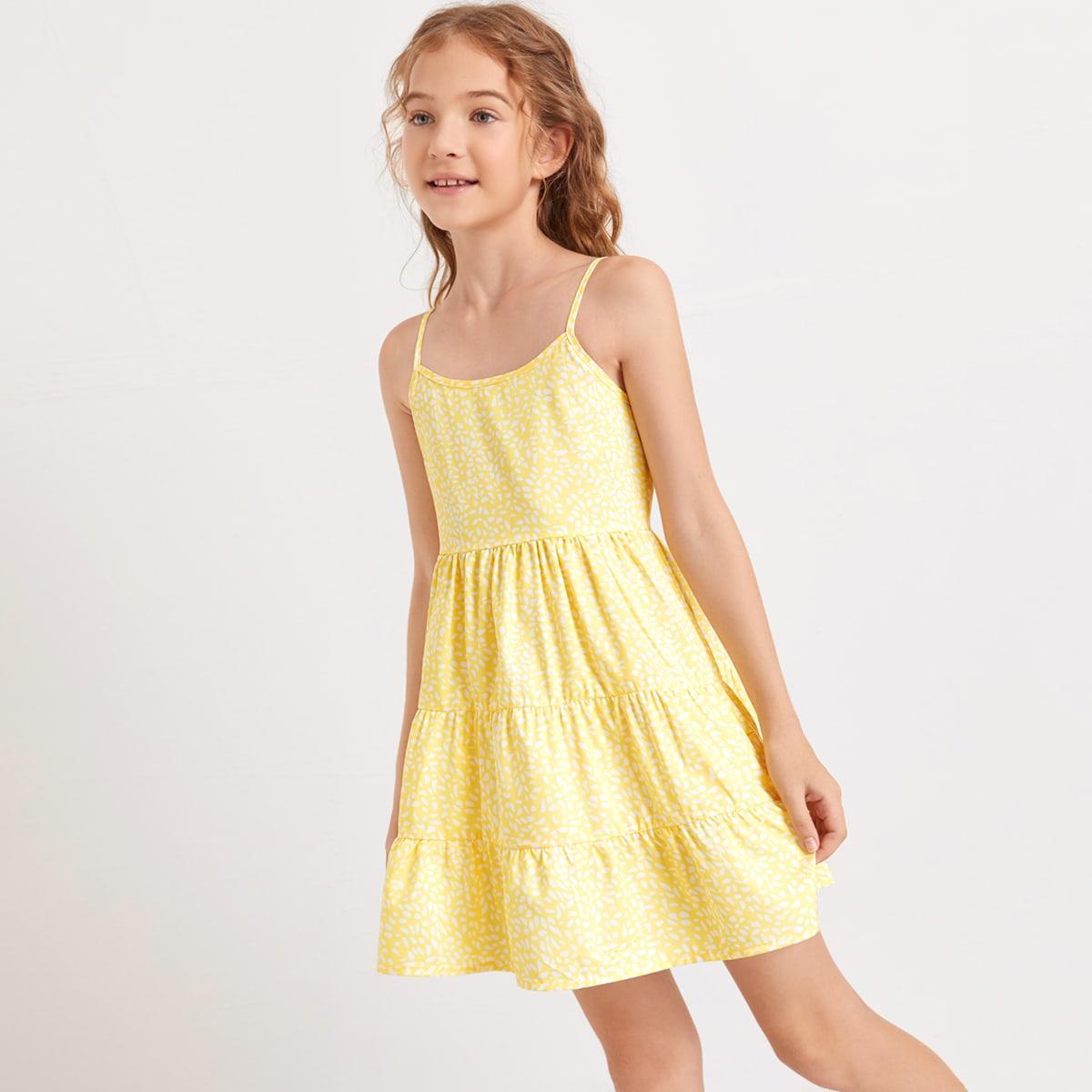 Платье на бретелях с принтом для девочек фото