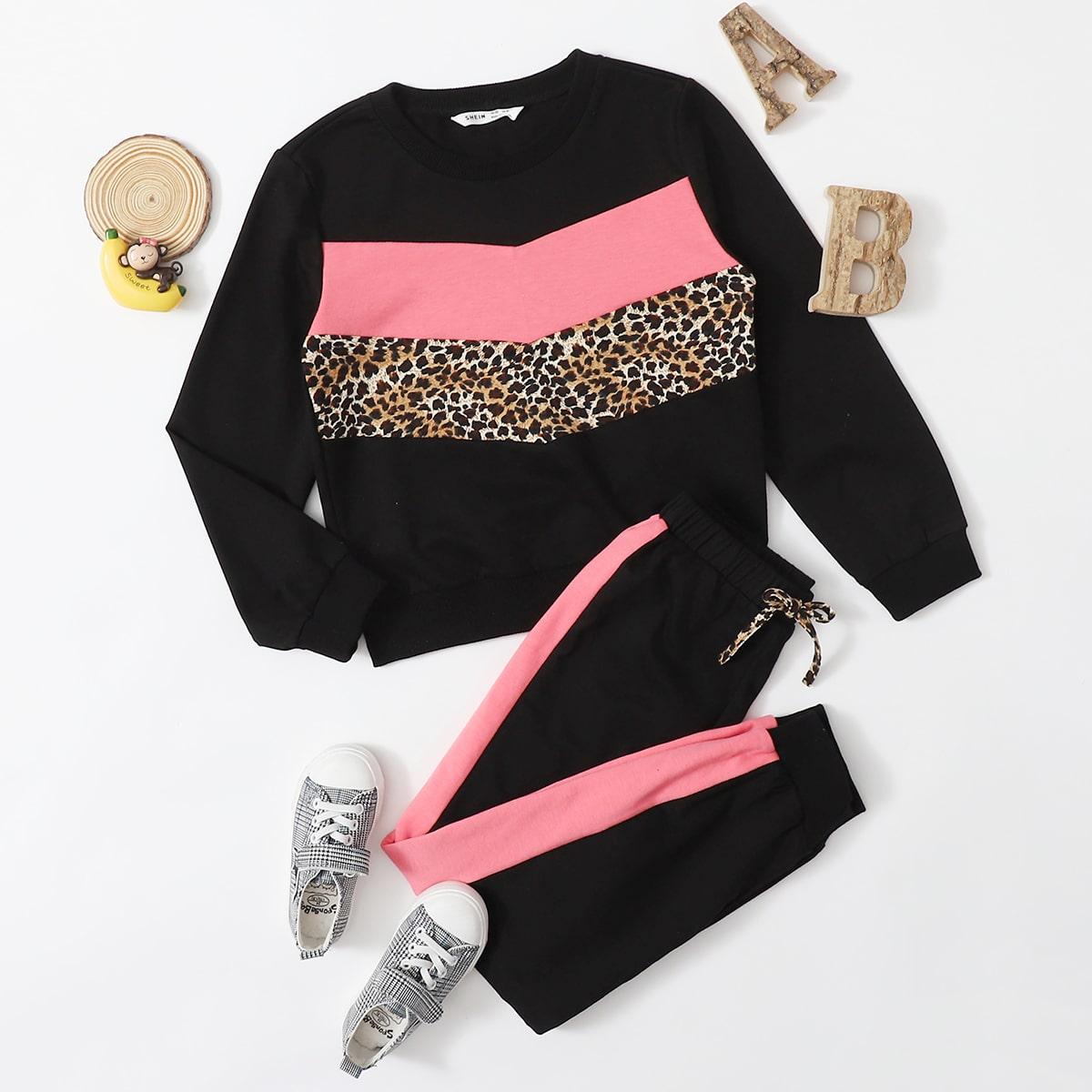 Контрастный пуловер и спортивные брюки для девочек от SHEIN