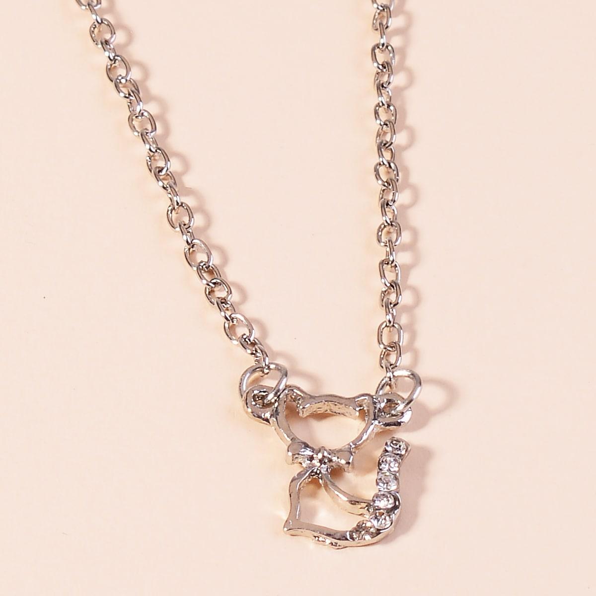 SHEIN / Halskette mit Strass Katze Dekor