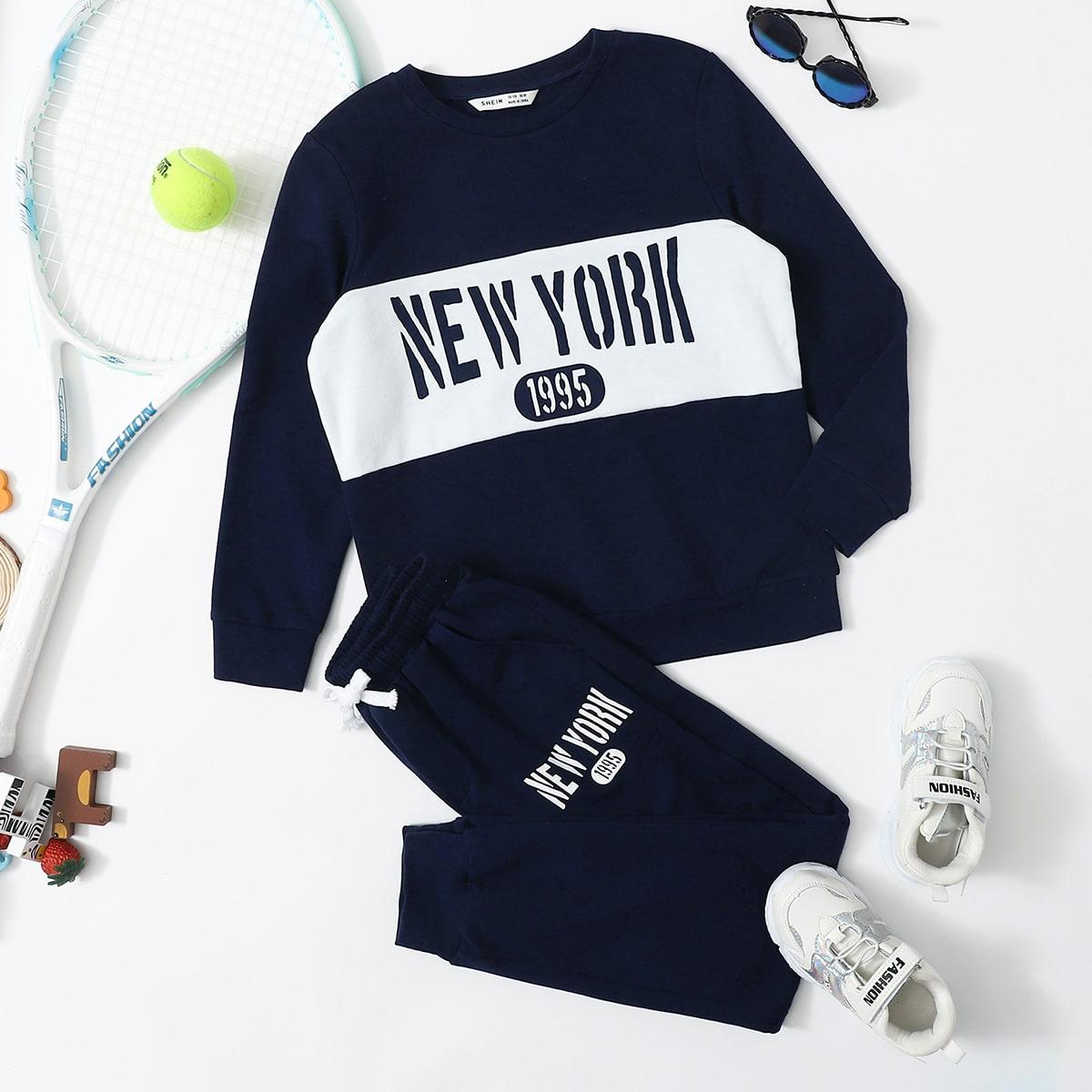 Спортивные брюки и пуловер с текстовым принтом для мальчиков от SHEIN
