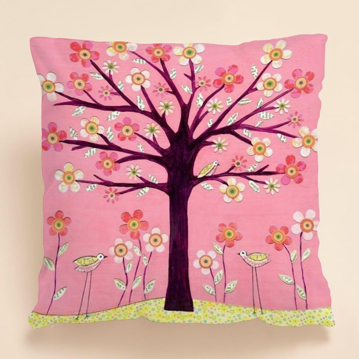 1шт чехол для подушки с принтом цветка без наполнителя фото