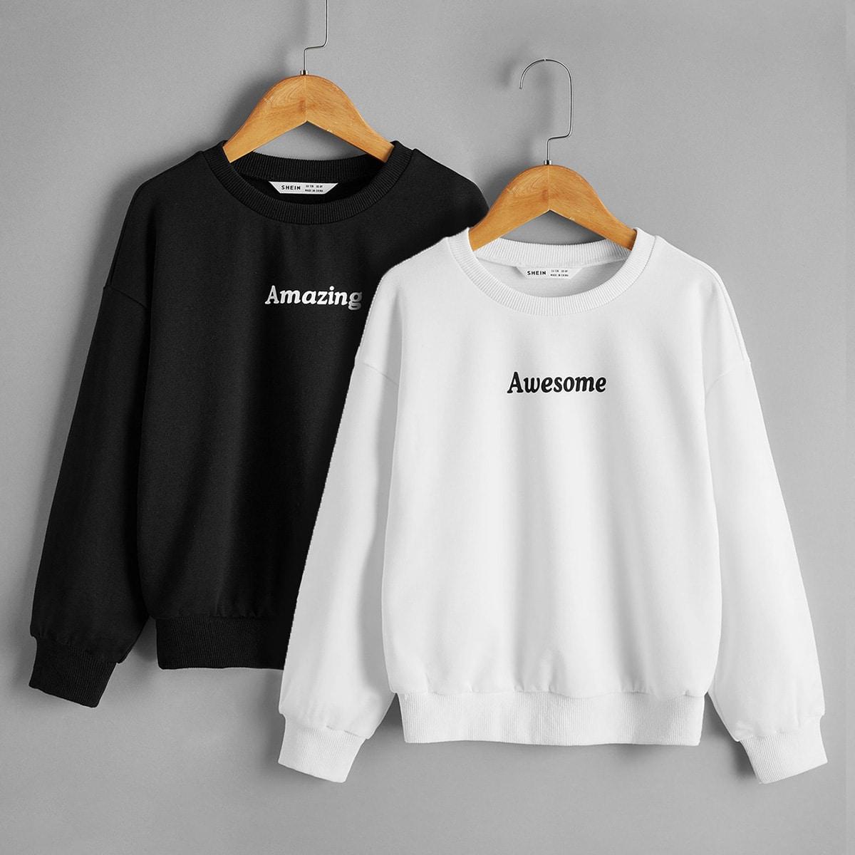 Пуловер с текстовым принтом для девочек 2шт от SHEIN
