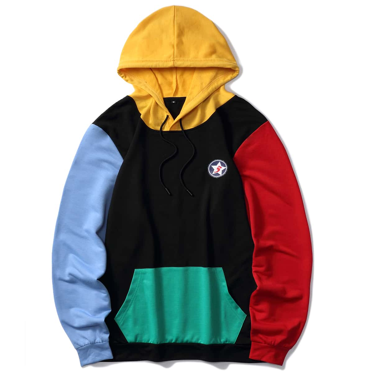 SHEIN / Men Patched Colorblock Kangaroo Pocket Drawstring Hoodie