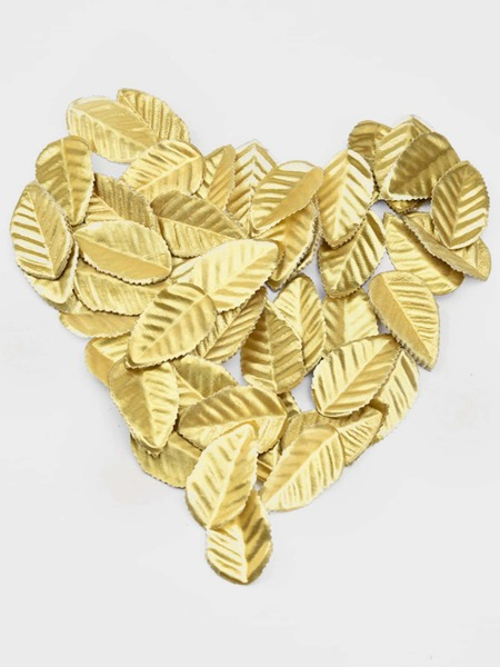 100pcs Holiday Decor Golden Plastic Leaves