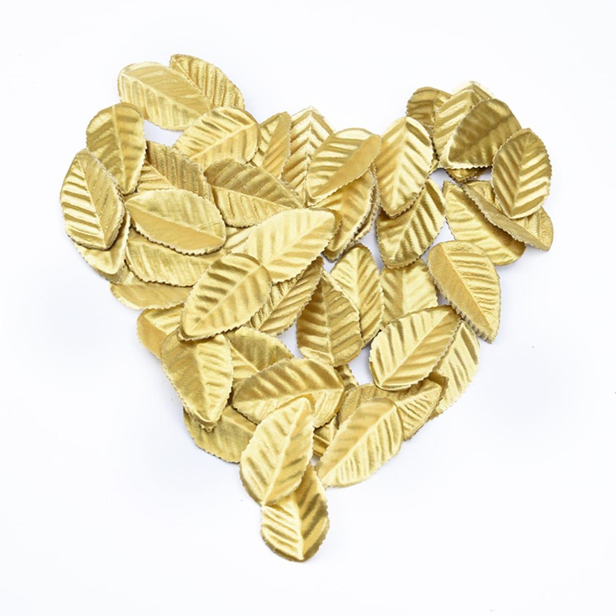 100шт декоративные золотые пластиковые листья фото