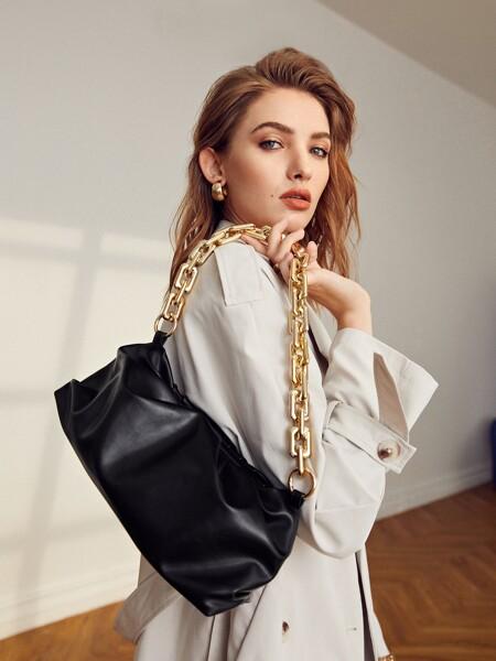 Minimalist Chain Ruched Bag