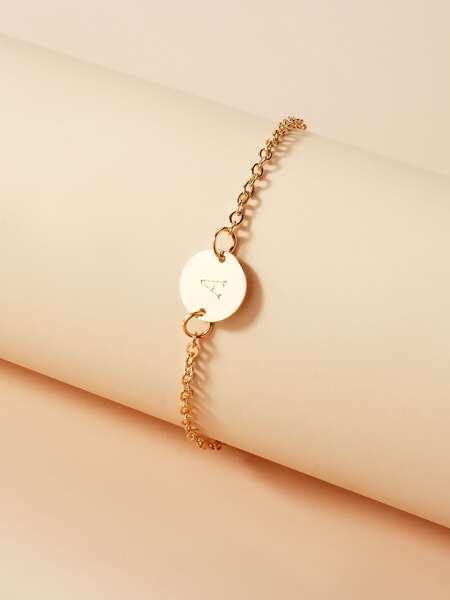 Letter Decor Disc Decor Bracelet