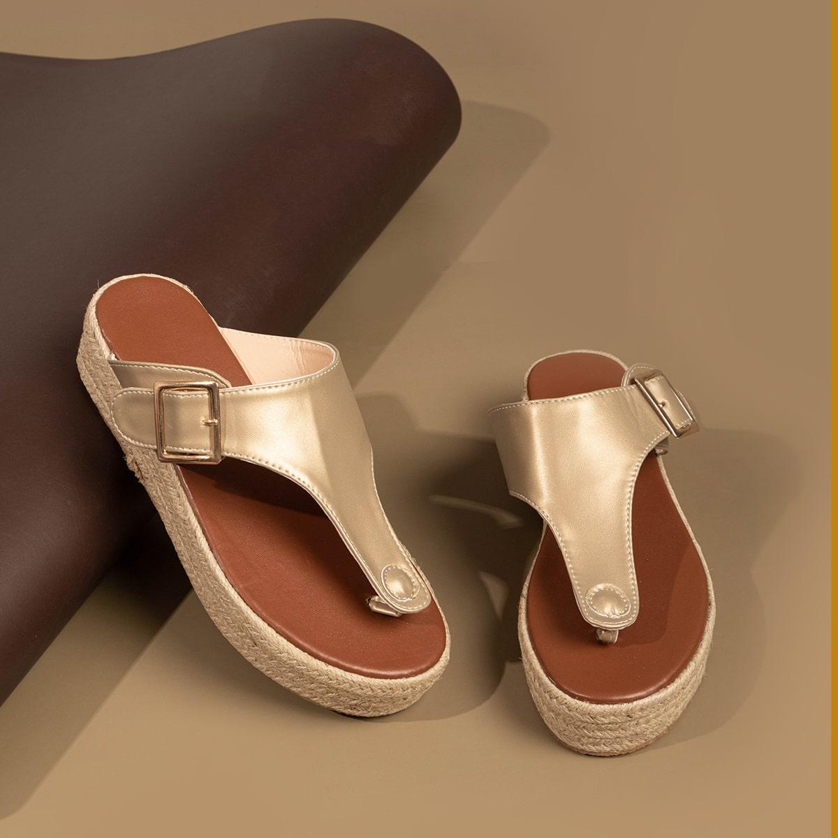 Туфли на конопляной платформе с пряжкой фото
