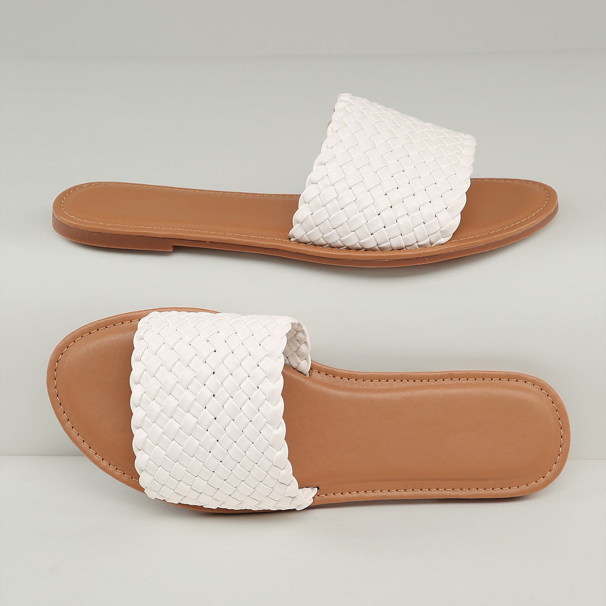 SHEIN / Faux Leather Basketweave Slip-On Sandals