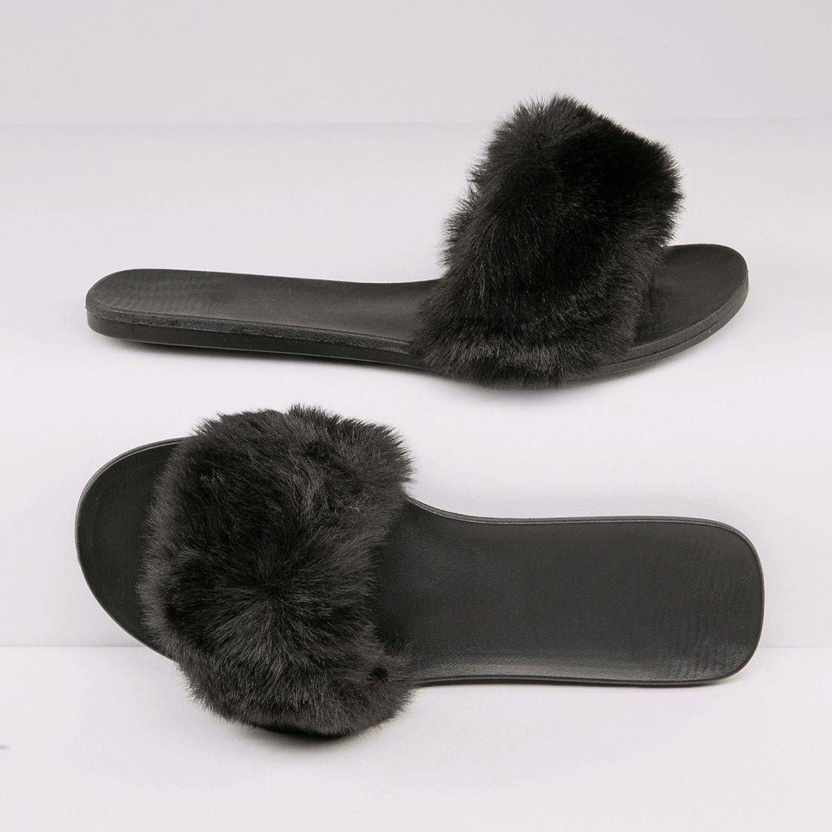 SHEIN / Fuzzy Faux Fur Vamp Slip-On Sandals
