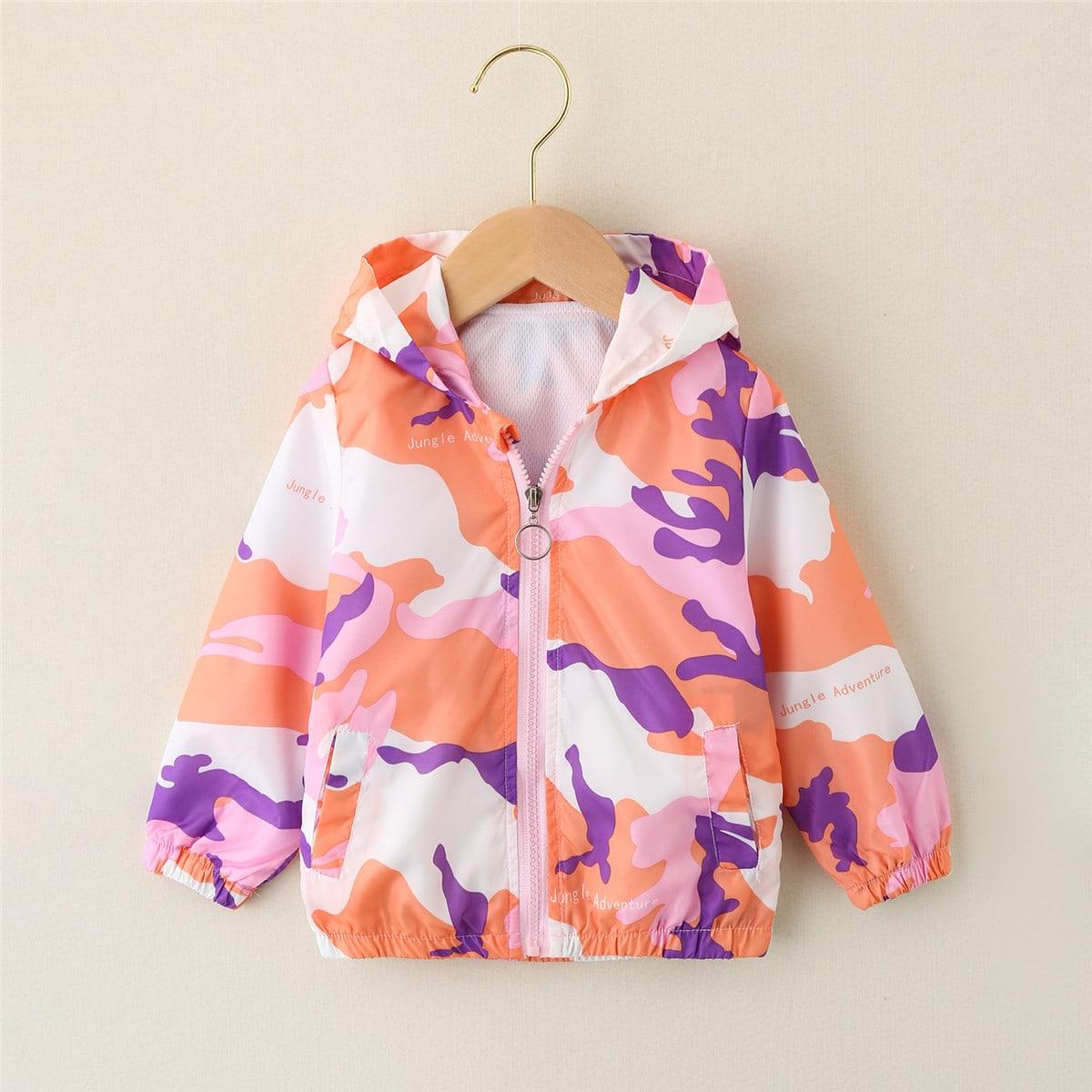 Многоцветный на молнии Текст Повседневный Пальто для маленьких девочек от SHEIN