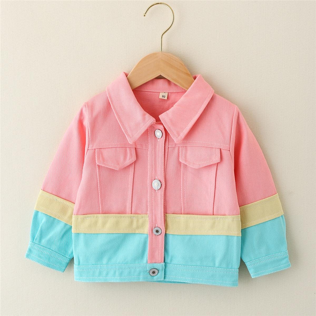 Нежний Розовый Однобортный Контрастный цвет Повседневный Пальто для маленьких девочек от SHEIN