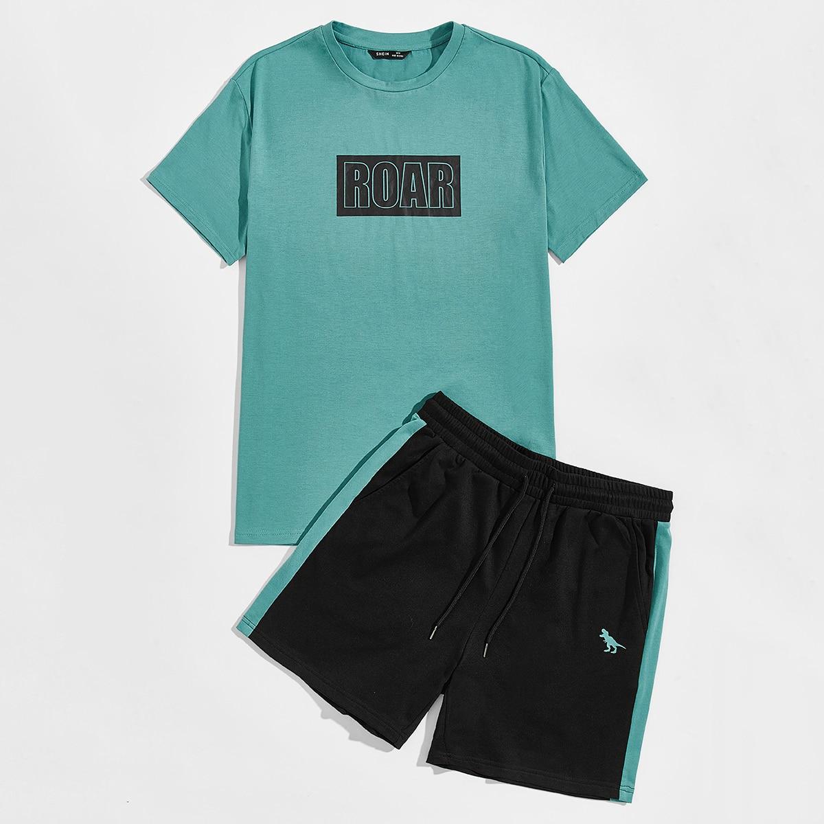 Мужские шорты и топ с текстовым принтом от SHEIN