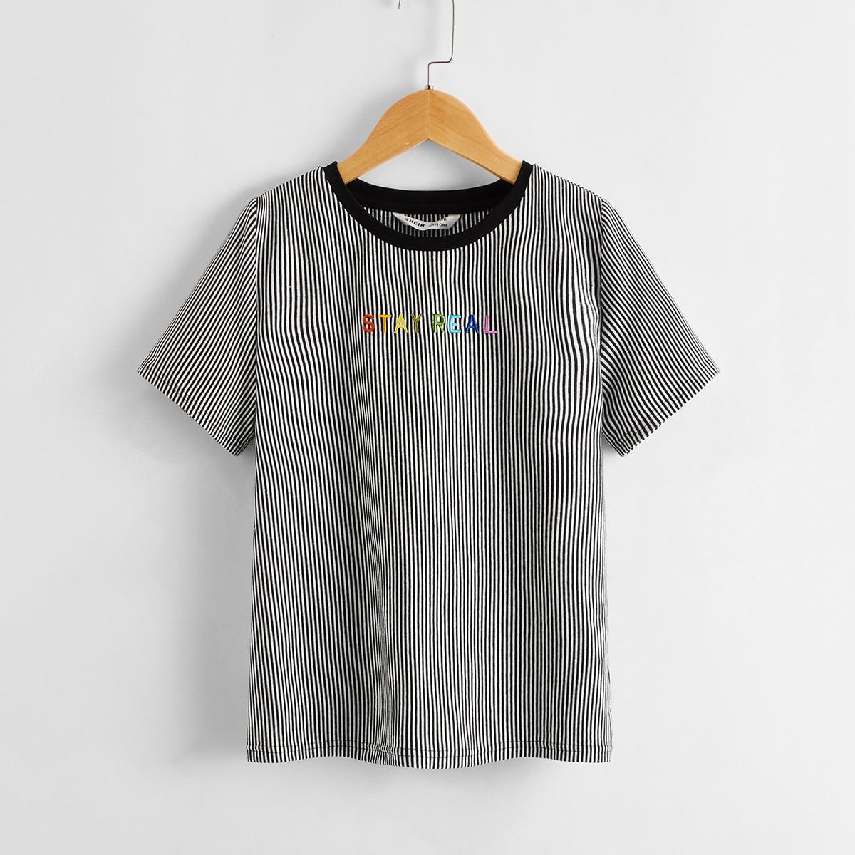 Полосатая футболка с текстовой вышивкой для мальчиков фото