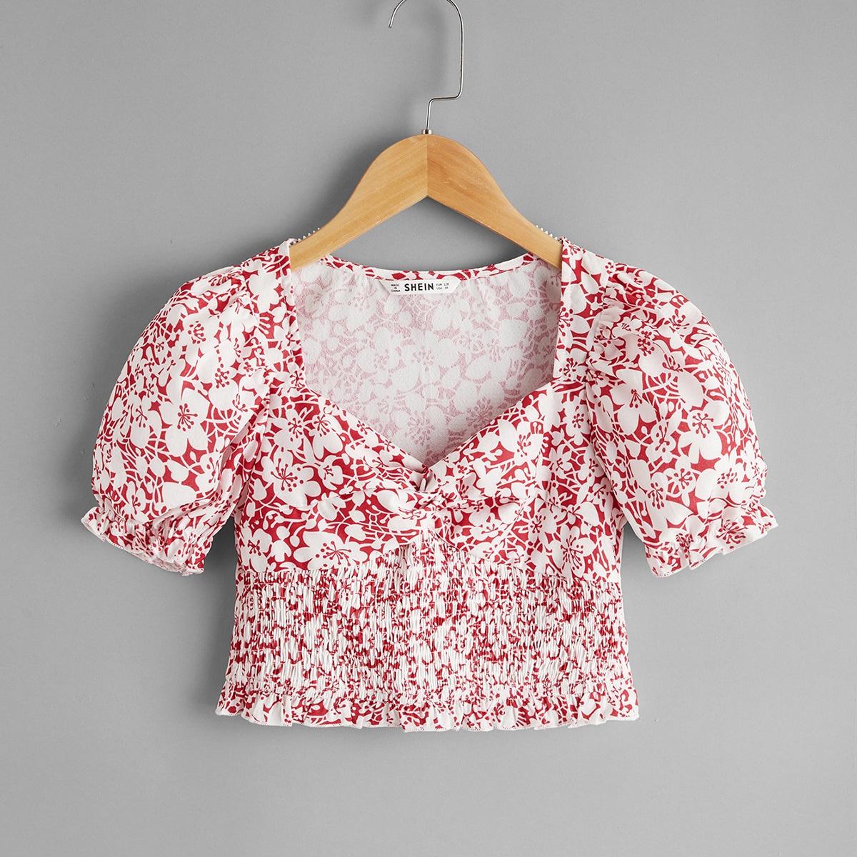 Топ с драпировкой и цветочным принтом для девочек от SHEIN