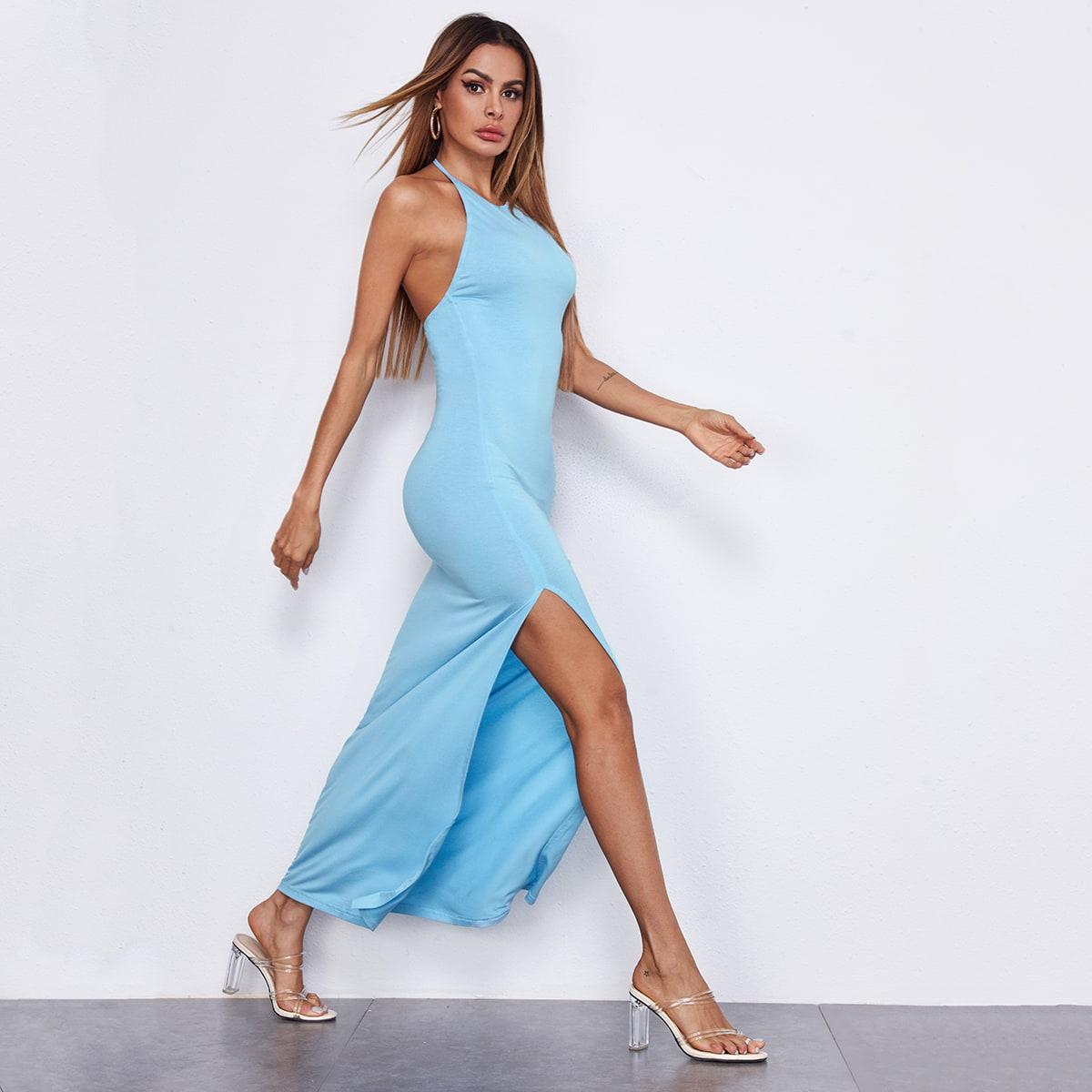 Платье с открытой спинкой и высоким разрезом фото