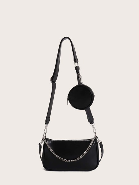 Chain Decor Shoulder Bag With Coin Case