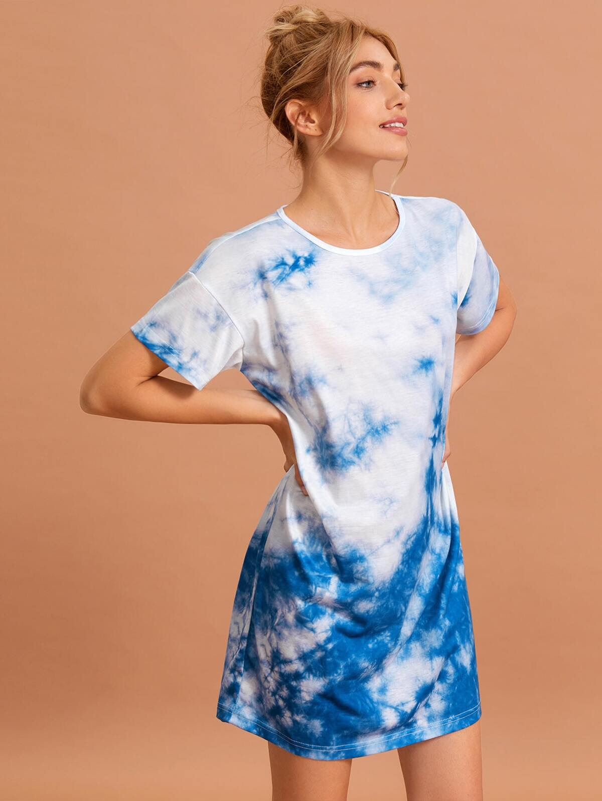 Tie Dye Drop Shoulder Lounge Dress