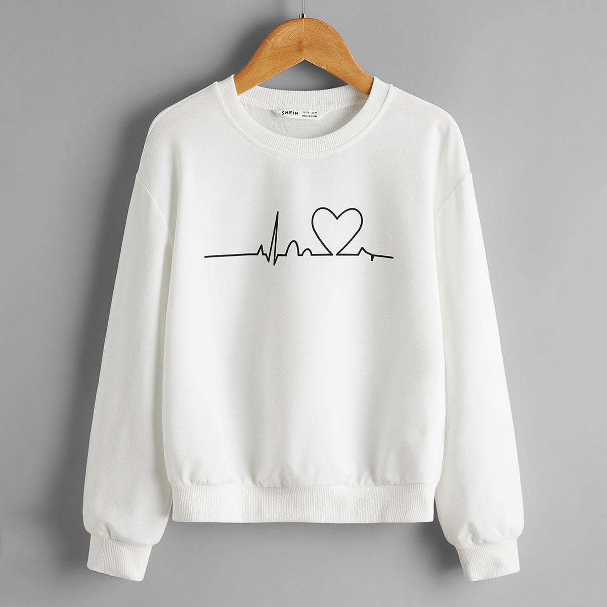 Пуловер с принтом сердечка для девочек от SHEIN