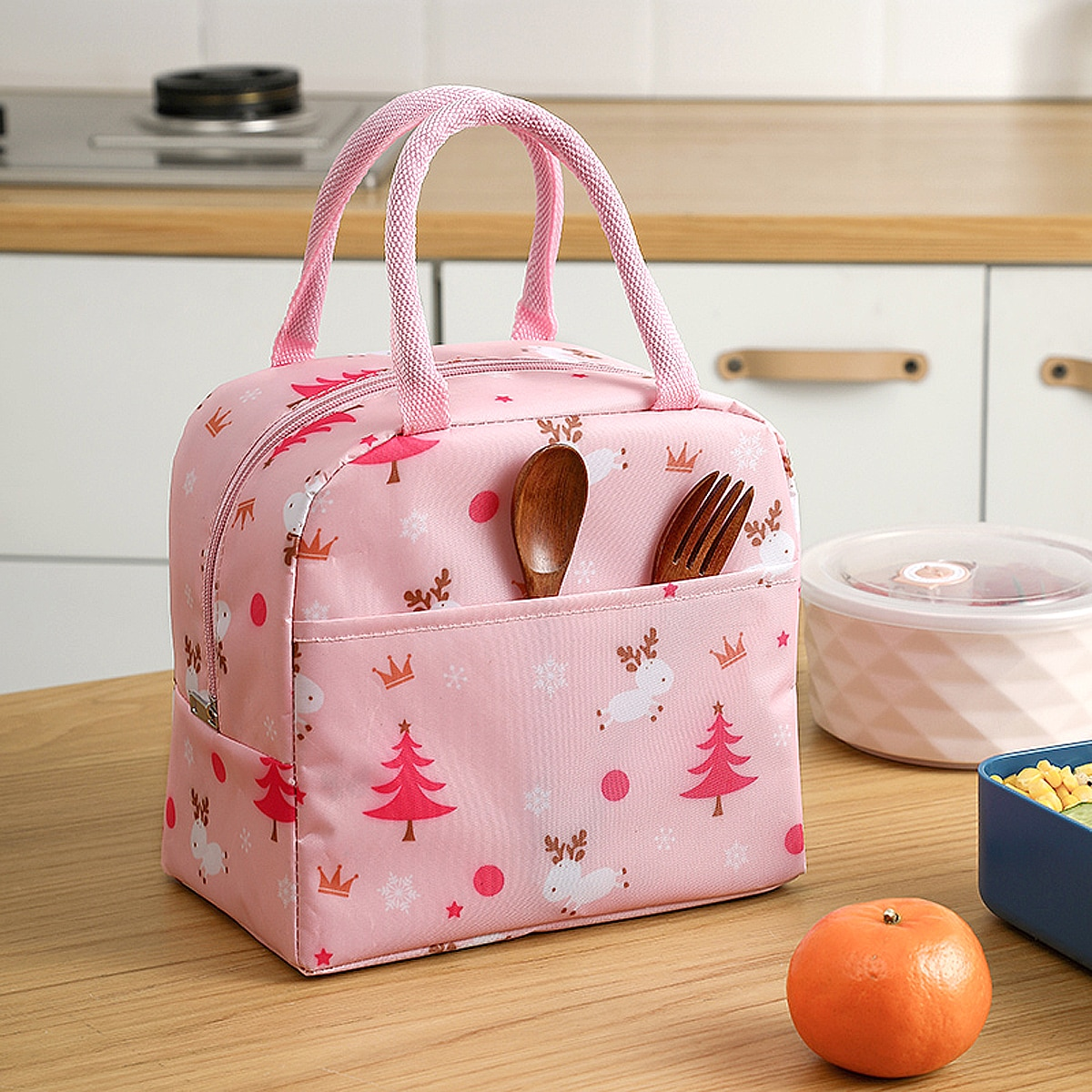 SHEIN / Tree & Deer Print Lunch Bag