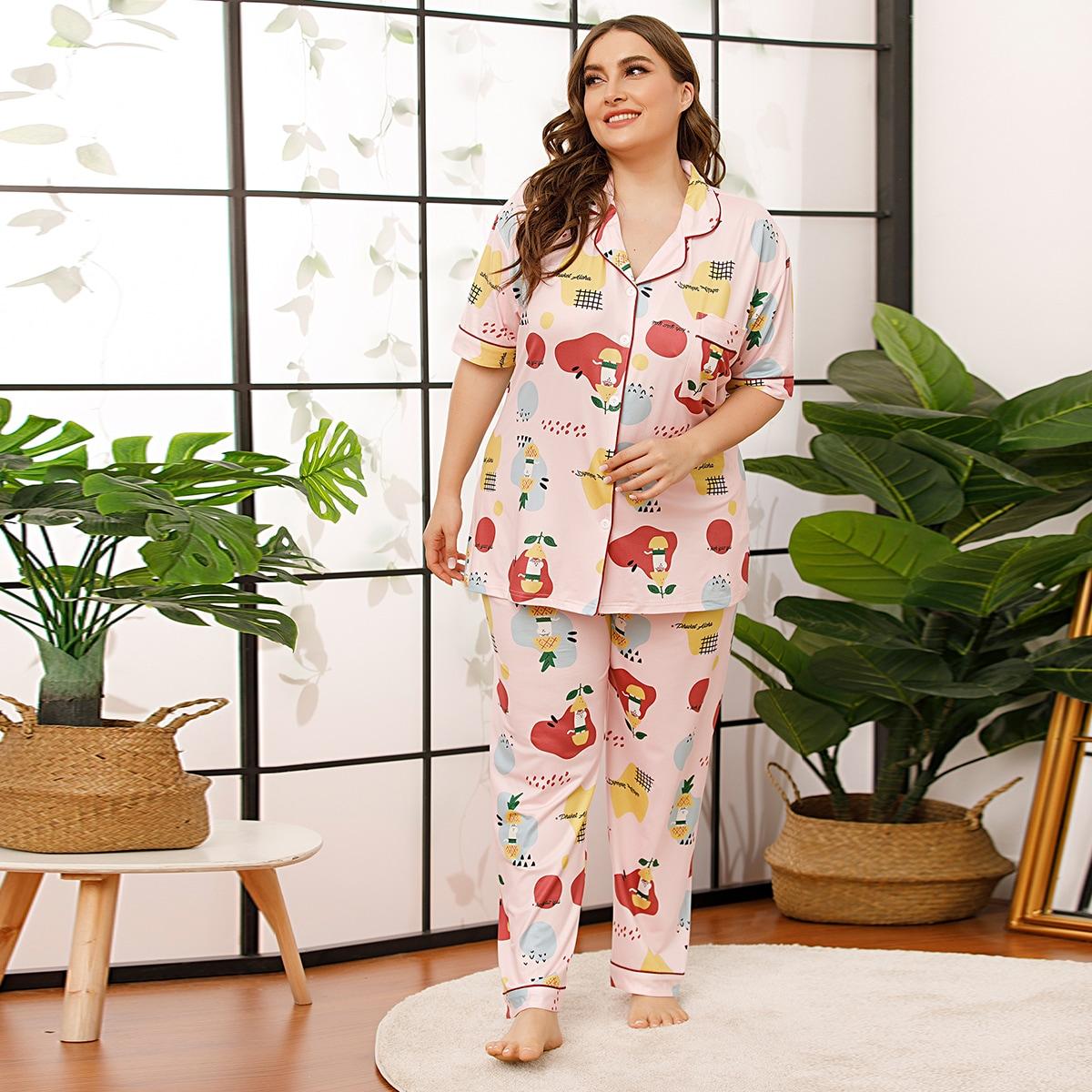 Нежний Розовый с карманами Мультяшный принт милый Пижама размер плюс фото