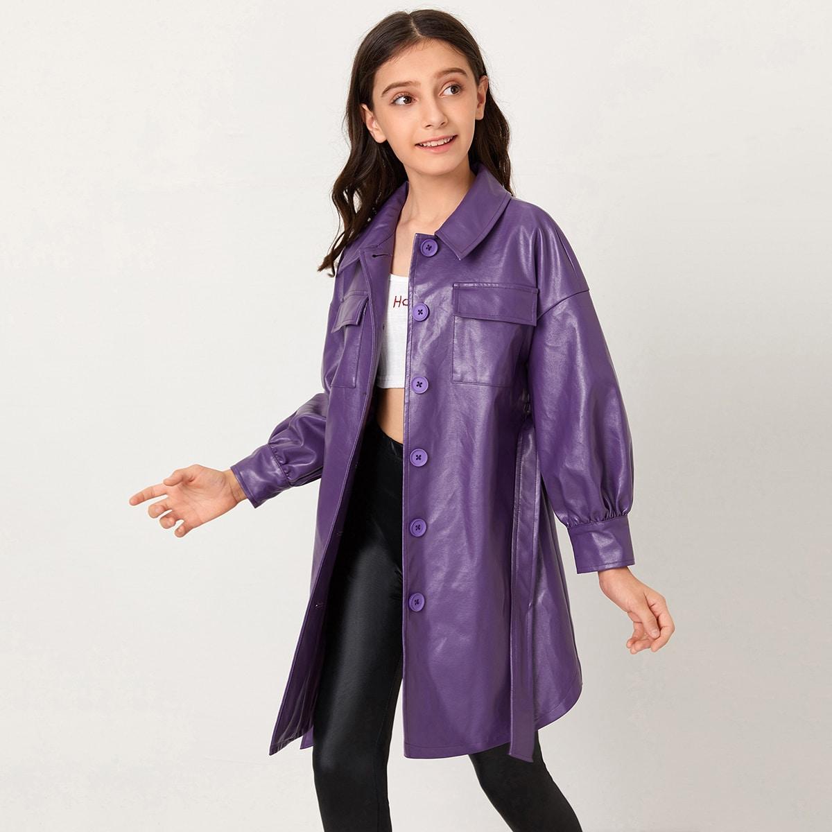Пальто из искусственной кожи с поясом и карманом для девочек от SHEIN